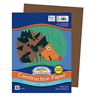 "SunWorks Construction Paper, Dark Brown, 9"" x 12"", 50 Sheets"