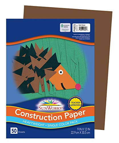 SunWorks Heavyweight Construction Paper, 9 x 12 Inches, Dark Brown 50 Count