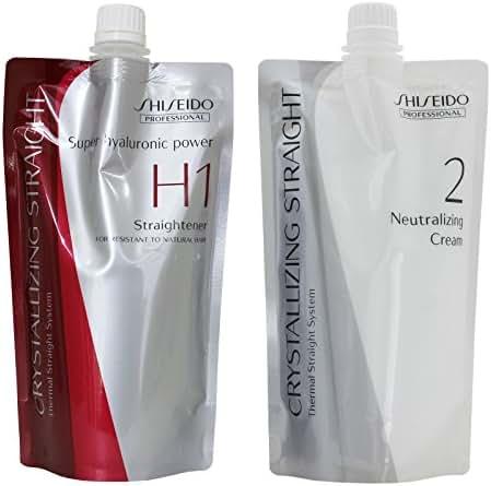 Hair Rebonding Shiseido Professional Crystallizing Hair Straightener (H1) + Neutralizing Emulsion (2) for Resistant to Natural Hair