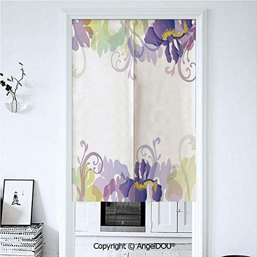 (AngelDOU Floral Summer Automatic Closing Curtains Valances Classic Petals Pastel Toned Seasonal Florets Blooming Flowers Elegance Print Door Screen Partition Curtain. 33.5x59 inches)