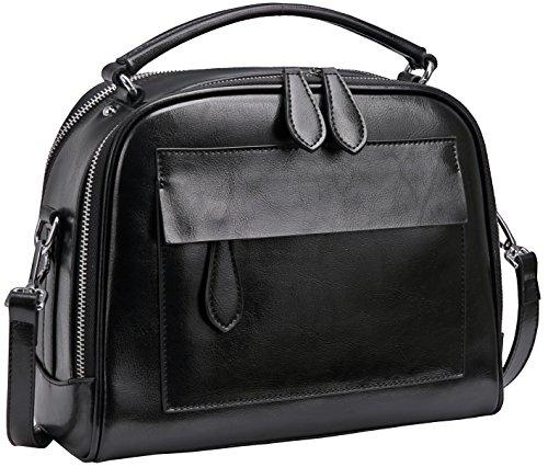 Heshe Womens Leather Handbags Shoulder Bags Hand Holder Satchel Purse Cross Body Handbag (Black)