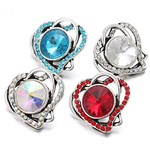Lovglisten 4pcs Love Heart Style Snap Jewelry Button Charms fit 20mm Snaps Jewelry (2)