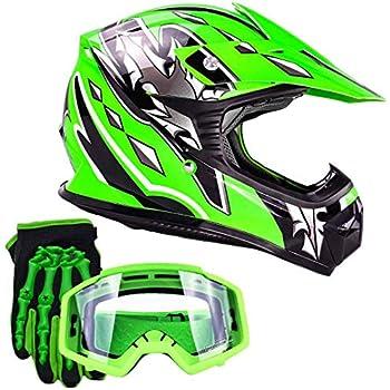 Youth Kids Offroad Gear Combo Helmet Gloves Goggles DOT Motocross ATV Dirt Bike MX Motorcycle Green (Medium)