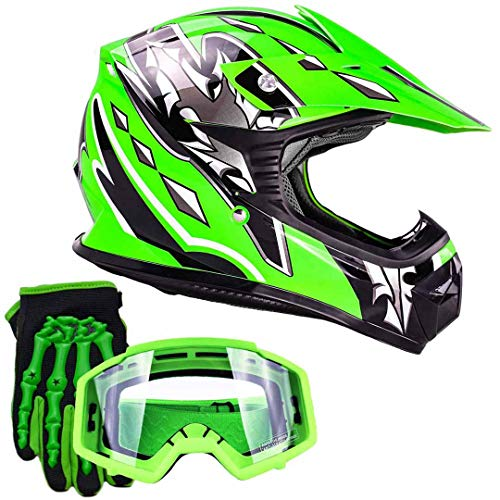 Youth Kids Offroad Gear Combo Helmet Gloves Goggles DOT Motocross ATV Dirt Bike MX Motorcycle Green (X-Large)