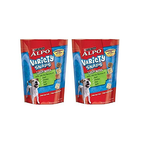 (ALPO Variety Snaps Little Bites Dog Treats with Beef, Chicken, Liver & Lamb Flavors 60 oz. Pouch (2)