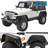 jeep tj flat fenders - EAG 97-06 Jeep Wrangler TJ Front + Rear Fender Flares with Side LED Lights Flat Style