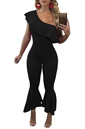 af12b9566666 Amazon.com  Remelon Womens Sexy One Off Shoulder Ruffle Sleeveless High  Waist Bodycon Flare Bell Jumpsuits Long Romper Pants  Clothing