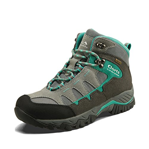 Clorts Women's Hiker Leather Waterproof Hiking Boot Outdoor Backpacking Shoe Grey Lake Blue HKM-823F US9.5