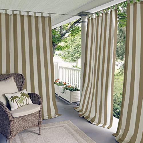 Elrene Home Fashions 026865874501 Indoor/Outdoor Tab Top Stripe Single Panel Window Curtain Drape, 50