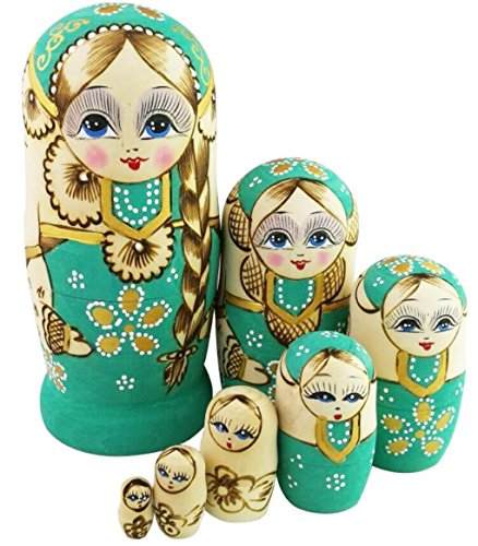 Winterworm Cute Little Girl With Big Braid Handmade Matryoshka Wishing Dolls Mother's Day Gifts Russian Nesting Dolls Set 7 Pieces Wooden Kids Gifts Toy Home Decoration Green ()