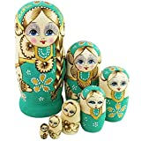 Winterworm® New Set of 7pcs Big Braid Nesting Dolls Authentic Russian Wooden Matryoshka Birthday Gifts Home Decoration Green