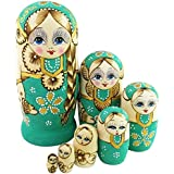 Winterworm Cute Little Girl With Big Braid Handmade Matryoshka Wishing Dolls Mother's Day Gifts Russian Nesting Dolls Set 7 Pieces Wooden Kids Gifts Toy Home Decoration Green