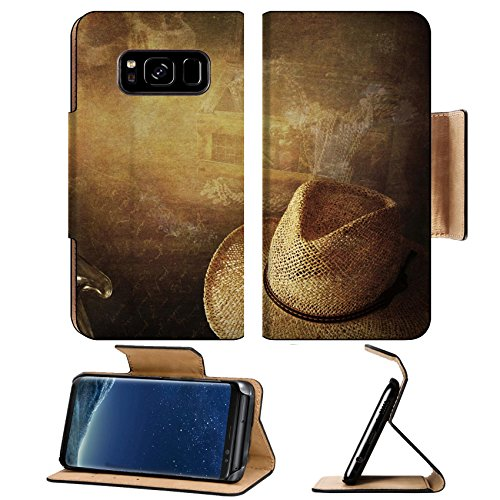 Liili Premium Samsung Galaxy S8 Flip Pu Leather Wallet Case Grunge background Indiana Jones like hut candle skull and treasure chest Photo 18700656 Simple Snap - Hut Leisure