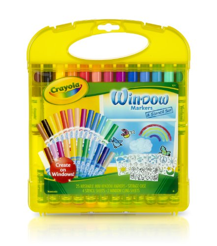 Crayola Window Markers & Stencil Set Easy to Clean Up, 25 Washable Mini Window Markers, 4 Stencils & 2 Window Cling Sheets in Storage Case for Easy Travel, Creativity Gift for Kids 4 & Up ()