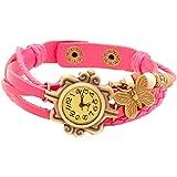 Pappi Boss Vintage Light Pink Butterfly Bracelet Watch for Girls & Women