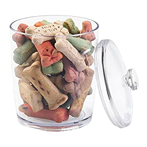 mDesign Pet Storage Jar with Lid for Dog Food, Treats - Pack of 3, Medium, Clear