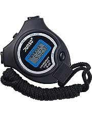 Stoppuhr,BizoeRade Digitale Stoppuhr Timer Handheld Digital Stoppuhr für Sports Training , Schwarz,6 Sprachen Broschüre