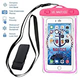 """Universal Waterproof Snowproof Dustproof Case by U.S. Nautics - CellPhone Dry Bag Pouch for iPhone SE, 6S 6,6S Plus, 5S , Samsung Edge S7, S6 Note 5 4, Sony LG HTC Motorola Nokia up to 6"""" (Pink)"""