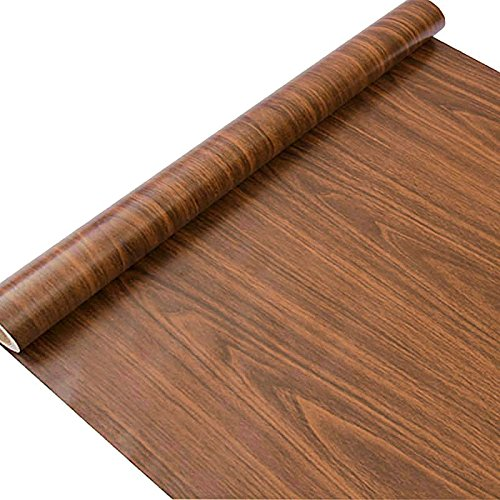 """Wood Grain Contact Paper, H2MTOOL Faux Removable Peel and Stick Wallpaper Self Adhesive (17.7"""" x 78.7"""", Brown)"""