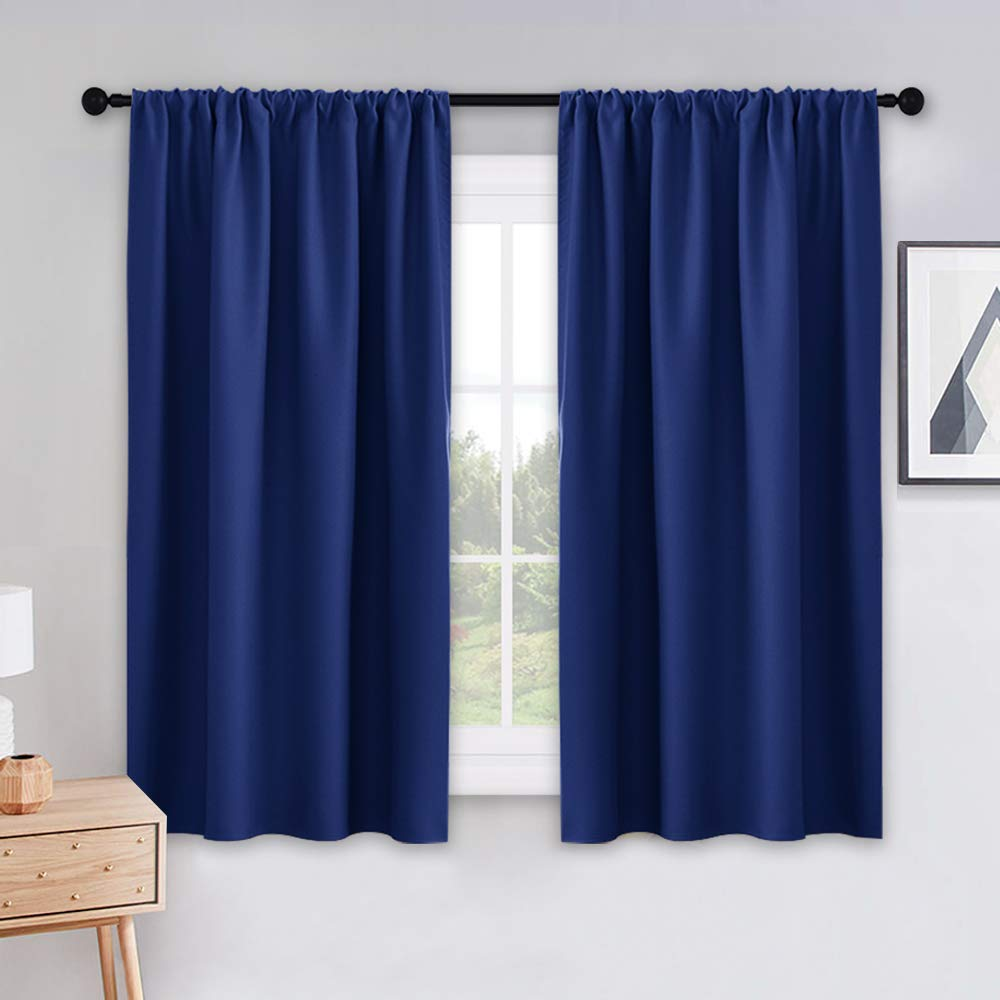 PONY DANCE Blackout Curtains for Kitchen - Light Blocking Thermal Insulated Rod Pocket Draperies Energy Saving/Short Window Treatments, 42 Wide by 54 inch Drop, Navy Blue, Double Panels