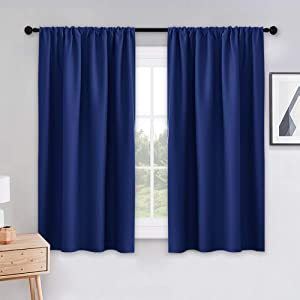 PONY DANCE Bedroom Blue Curtains - 45 inch Length Blackout Draperies Rod Pocket Top Black Out Window Curtain 2 Panels/Home Decoration for Kids' Room, Navy Blue, W 42 x L 45 inches, 1 Pair