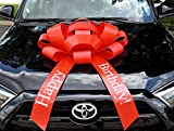 """CarBowz Big Red Car Bow, Happy Birthday Bow, Giant 30"""" Bow, Non Scratch Magnet, Weather Resistant Vinyl"""