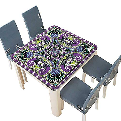 PINAFORE Solid Tablecloth Silk Neck Scarf or Kerchief Square Pattern Design in Ukrainian karakoko Style Table Cover 29.5 x 29.5 INCH (Elastic Edge)