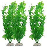 Gbell 3 Pcs Artificial Aquarium Plastic Long Leaf Plants with Ceramic Base, Large Green Lifelike Aquatic Plant Home Fish Tank Ornament Decorations,Non-Toxic Safe for All Fish,10.6-inch (Green)