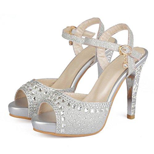 YE Damen Kitten Heels Sandalen mit Riemchen und Glitzer Stiletto High Heels Hochzeit Braut Schuhe  Silber