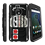 MINITURTLE Case Compatible w/ Moto G5 Plus Hard Case| Motorola Moto G5 Plus Case| XT1687 Case[Armor Reloaded] Rugged Impact Protector Case + Clip Holster and Stand Heavy Duty Game Controller Retro