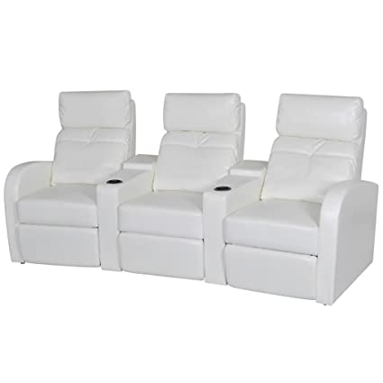 Pleasant Amazon Com 3 Seat Recliner Chair White Artificial Leather Machost Co Dining Chair Design Ideas Machostcouk