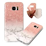 Colorful Print Marble Patterns Cover for Samsung Galaxy S7 Edge, MOIKY Ultra Slim Skin Touch Protective in Bumper Gel Case Anti-Scratch Shock Resistant Shell for Samsung Galaxy S7 Edge - Gradient white