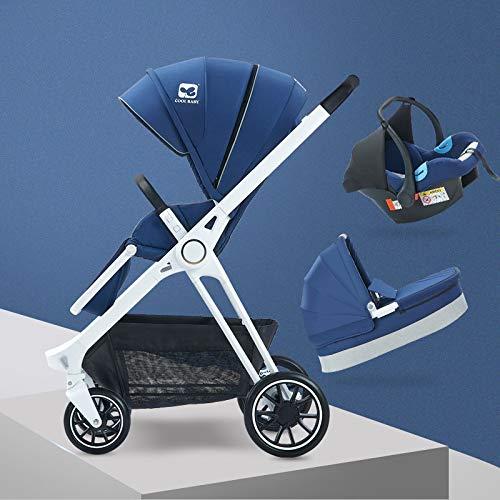 Y-Pushcar Luxury Baby Trolley High Landscape Stroller 3 in 1 Babt Pram Two-Way Portable Kid Car,Blue