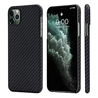 """PITAKA Magnetic Phone Case for iPhone 11 Pro Max 6.5"""" Minimalist MagEZ Case 100% Aramid Fiber [Body Armor Material] Perfectly Fit Cover-Black/Grey(Twill)"""