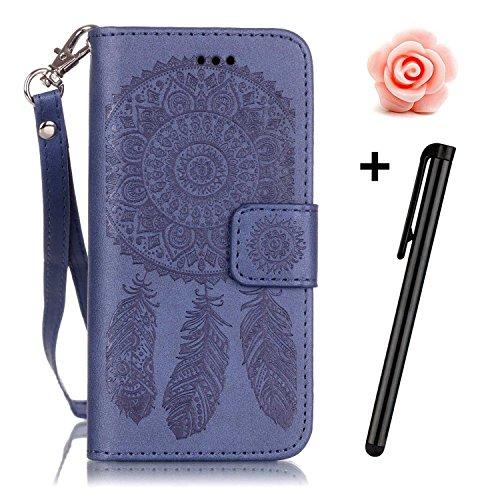 Price comparison product image LG K7 Case,TOYYM Wallet Case Dreamcatcher Pattern Premium PU Leather Wallet [Kickstand] [Card Slots] Flip Cover for LG K7+Stylus+Dust Plug,Blue