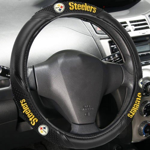 NFL Pittsburgh Steelers Massage Grip Steering Wheel Cover, One Size, (Fremont Steering Wheel Cover)