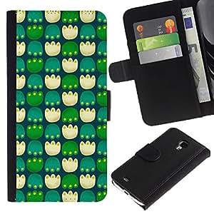 UberTech / Samsung Galaxy S4 Mini i9190 MINI VERSION! / Flower Paws Pc Game Green Pattern / Cuero PU Delgado caso Billetera cubierta Shell Armor Funda Case Cover Wallet Credit Card