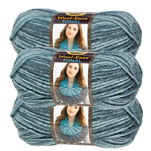 (Lion Brand Yarn (3 Pack) Acrylic & Wool Chunky Yarn for Knitting Crocheting Soft Yarn Bulky #5 )