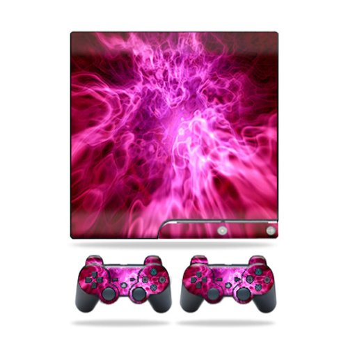 Cheap MightySkins Protective Vinyl Skin Decal Cover for Sony Playstation 3 PS3 Slim skins + 2 Controller skins Sticker Red Mystic