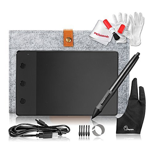 Huion H420 USB Art Design Graphics Drawing Tablet Board Digital Pen with 10' Wool Liner Bag and Two Fingers Anti-fouling Glove