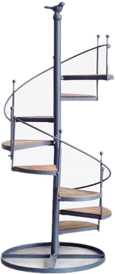 FCXBQ Creativo Estilo nórdico Escalera de Caracol de Hierro Planta/Decoración Estante Estante Tiene 8 macetas