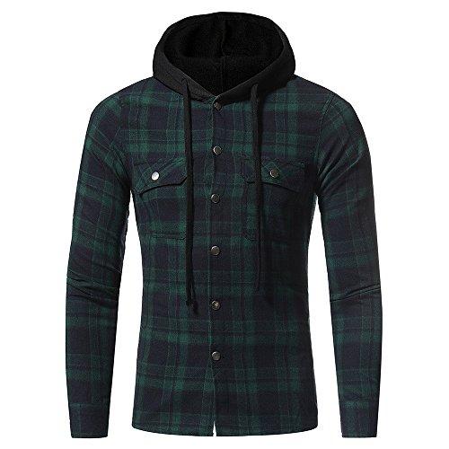 Plaid Hooded Shirt Men Autumn Winter Long Sleeved Top ()