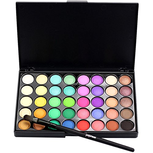 Holata 40 Colors Eyeshadow Palette Matte Cosmetic Eye Shadow Matte Makeup Palette Shimmer + Brush Kit (Multi-Colored B) ()
