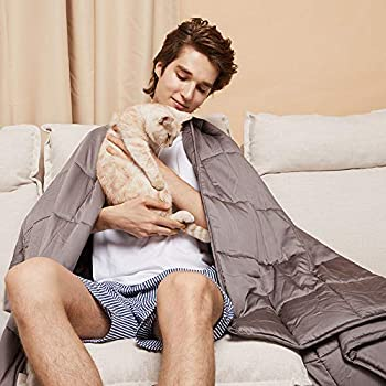 ZonLi Cooling Bamboo Weighted Blanket 25 lbs(55''x82'' Grey), Cool Summer Weighted Blanket for Adult