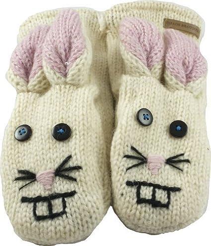 Revive Online Men's Nepal Animal Mittens Wool Hand Made Rabbit FV-QCSG-6FHL