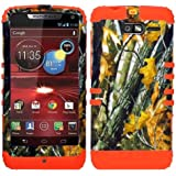 CellPhone Trendz Hybrid 2 in 1 Case Hard Cover Faceplate Skin Orange Silicone and Camo Mossy Hunter Oak Big Branch Snap Protector for Motorola DROID RAZR M (XT907, 4G LTE, Verizon)