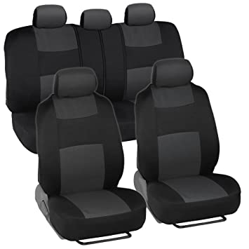 BDK PolyCloth Black Charcoal Gray Car Seat Cover Easy Wrap Two Tone Accent