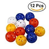 TOYMYTOY 12pcs Perforated Plastic Play Balls Hollow Golf Practice Training Sports Balls (Mixed Colors)