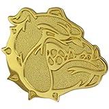"PinMart's Gold Chenille BULLDOG Mascot Letterman's Jacket Lapel Pin 1"""