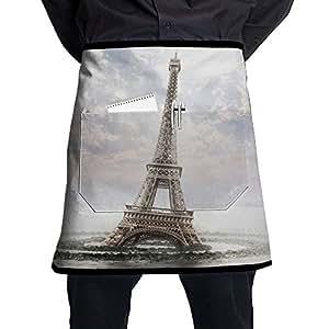 Cintura Tie mitad cintura delantal para hombres y mujeres, EIFFEL-TOWER estilista cintura Chef delantal con 2bolsillos para camarera, camarero, Chef, Baker, servidores